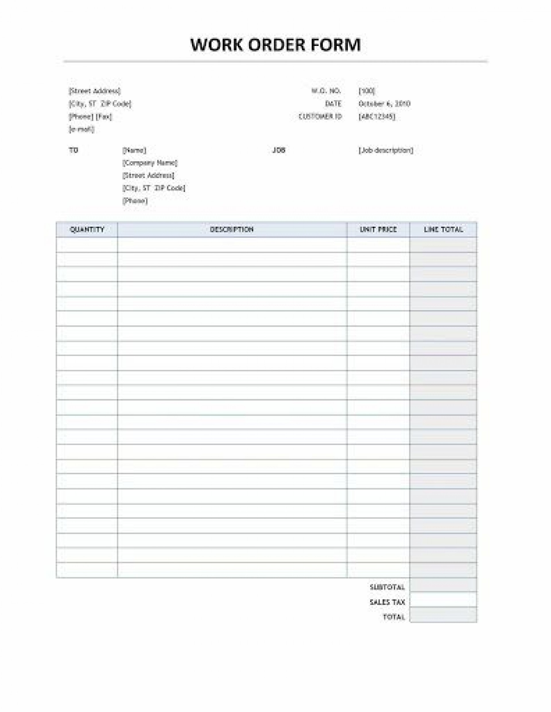 004 Stunning Work Order Template Free Idea  Automotive Auto Printable Request1920