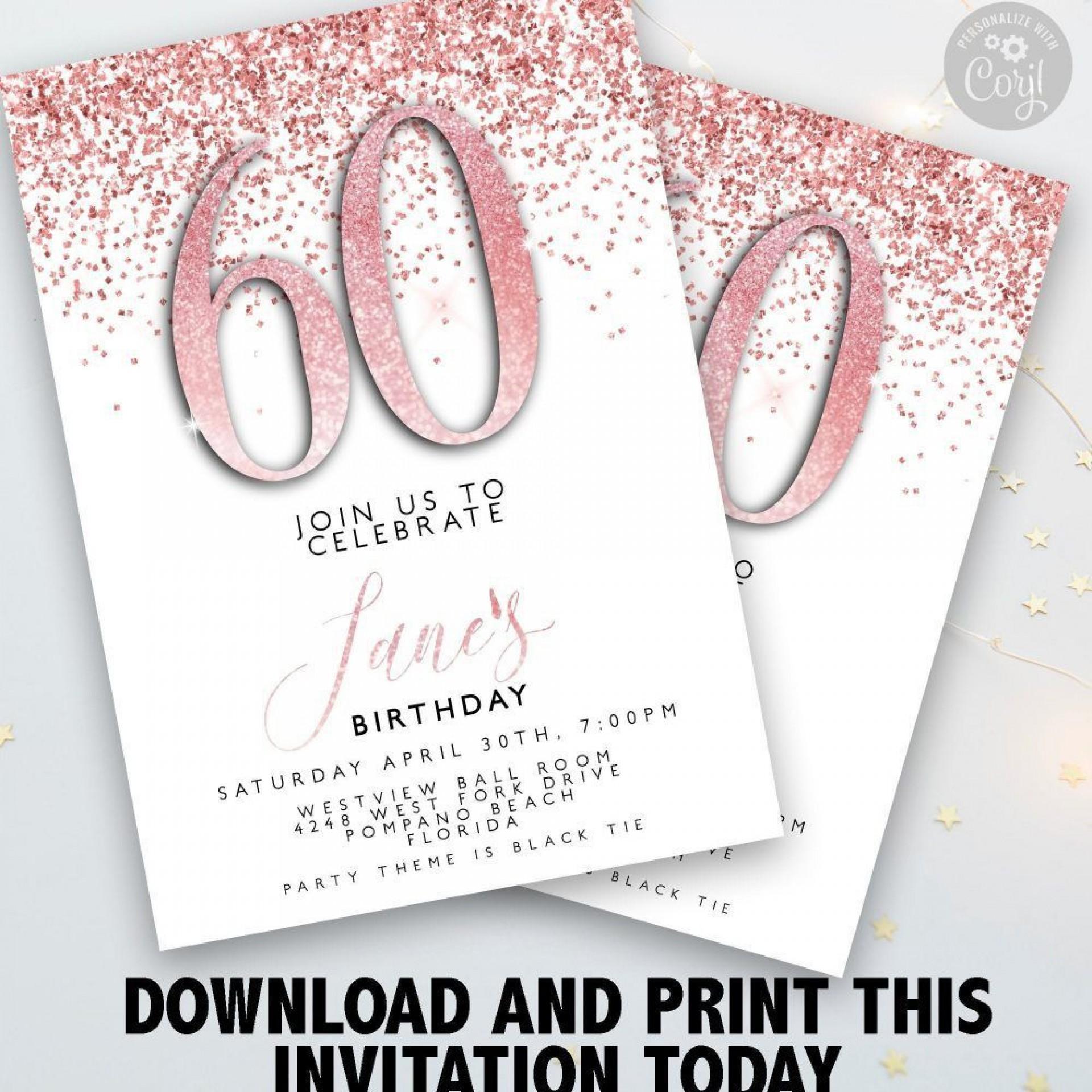 004 Stupendou 60 Birthday Invite Template Highest Quality  Templates 60th Printable Free1920