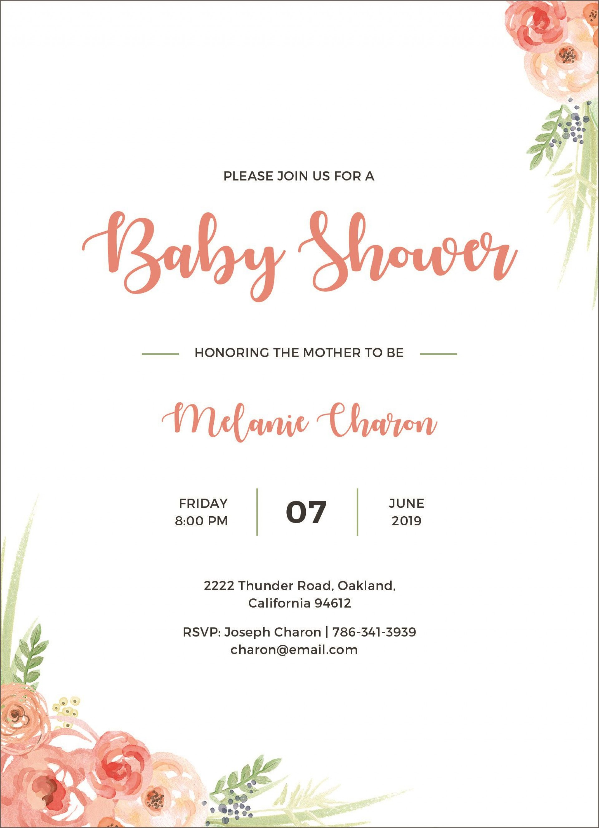 004 Stupendou Baby Shower Announcement Template Concept  Templates Invitation India Indian Free With Photo1920