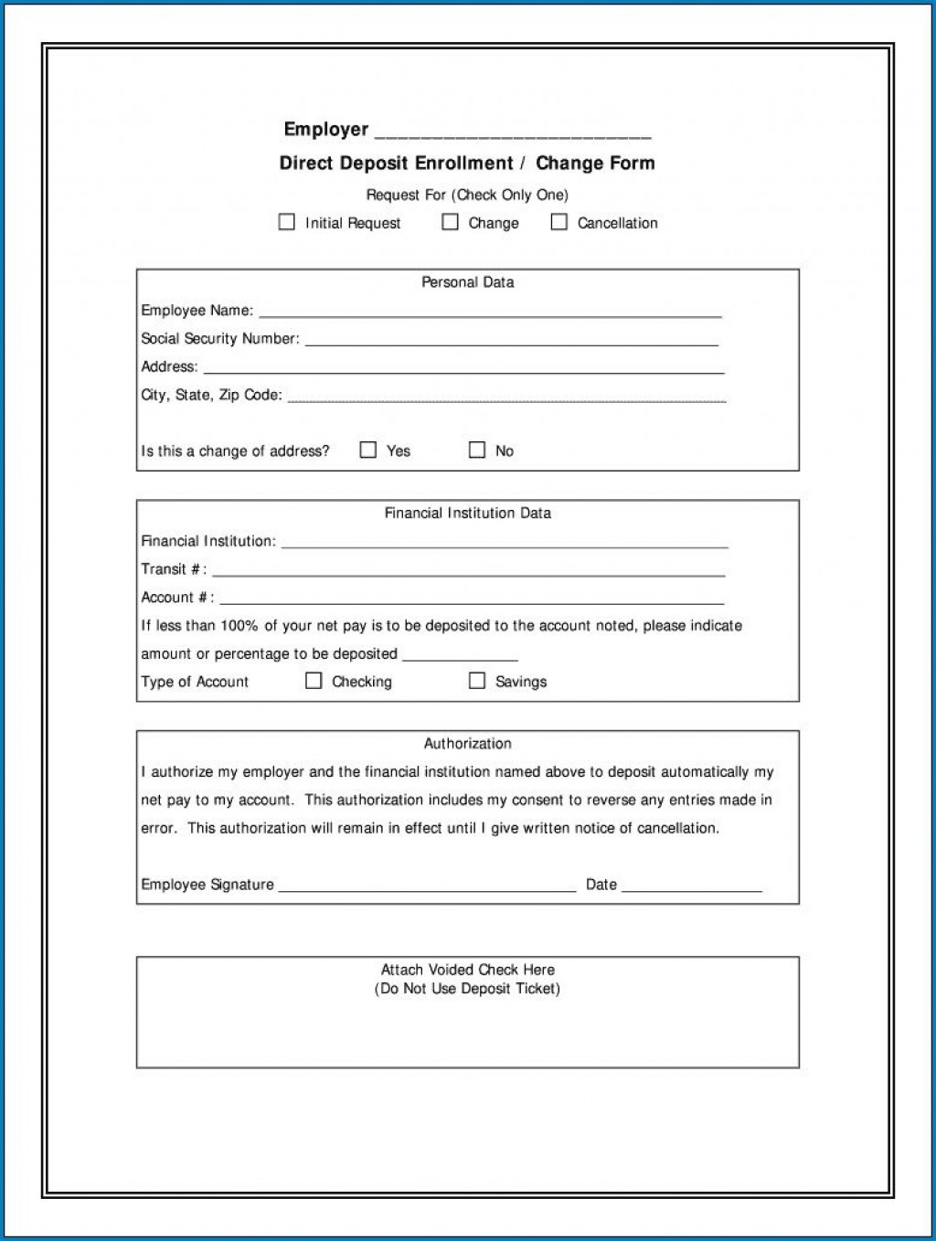 004 Stupendou Direct Deposit Form Template High Resolution  Multiple Account Ach AuthorizationLarge