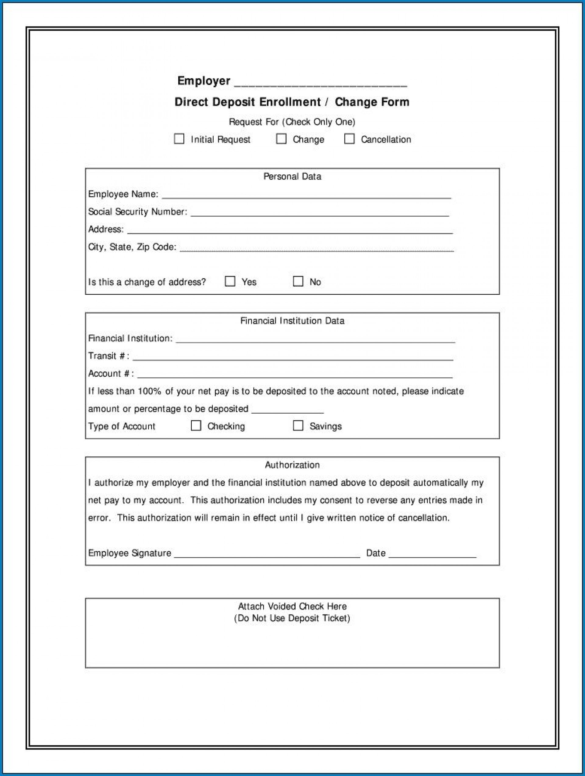 004 Stupendou Direct Deposit Form Template High Resolution  Multiple Account Ach Authorization1920