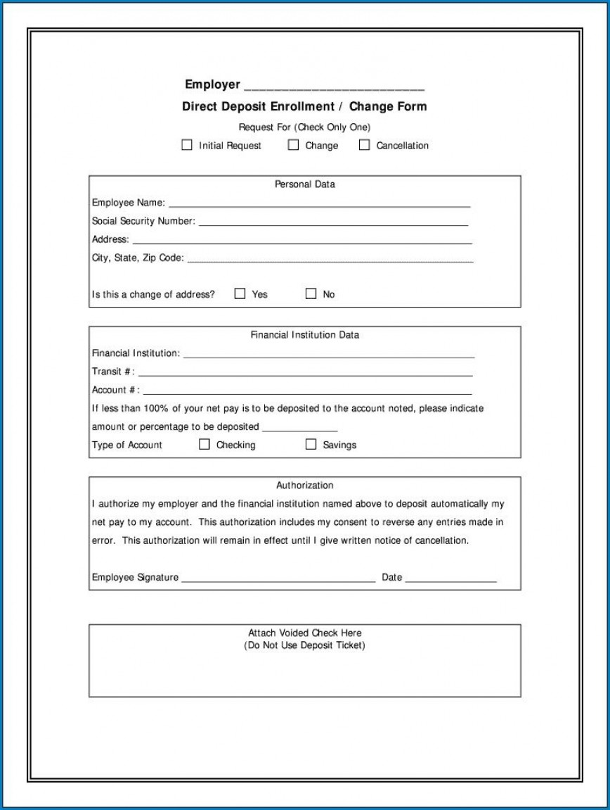 004 Stupendou Direct Deposit Form Template High Resolution  Ach Authorization Payroll Canada Request