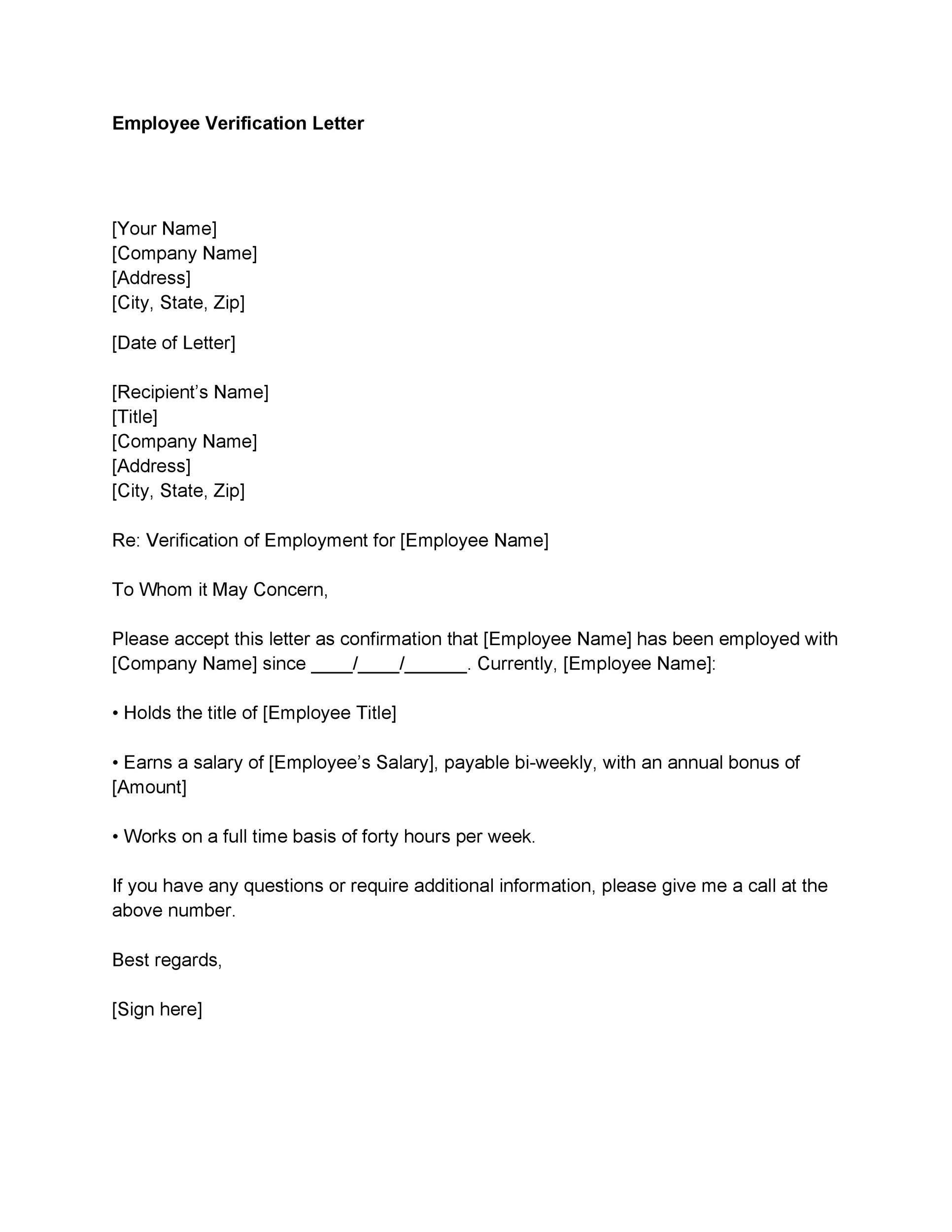 004 Stupendou Employment Verification Letter Template Word High Def  South AfricaFull
