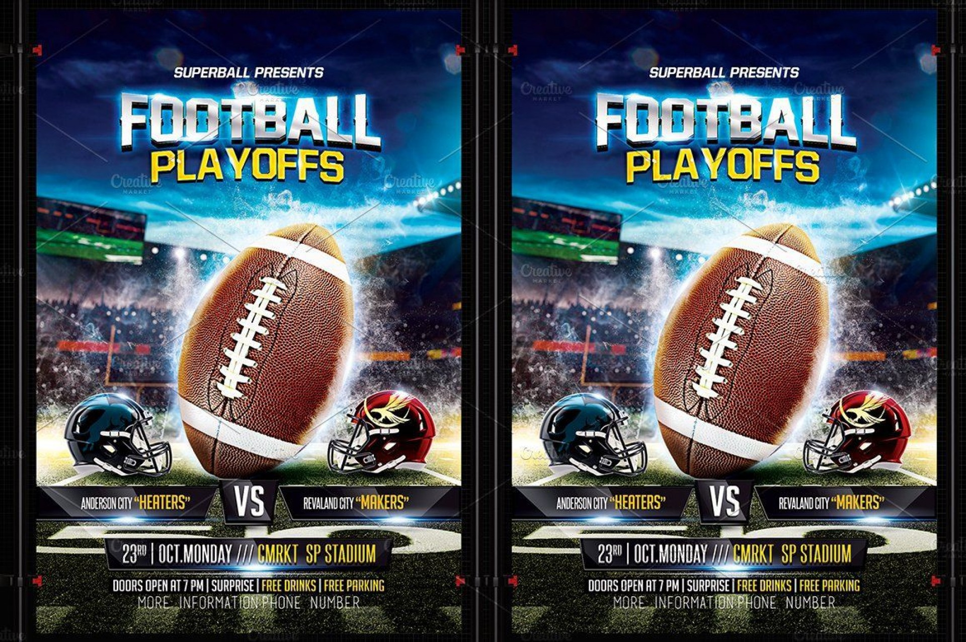 004 Stupendou Football Flyer Template Free Example  Download Flag Party1920