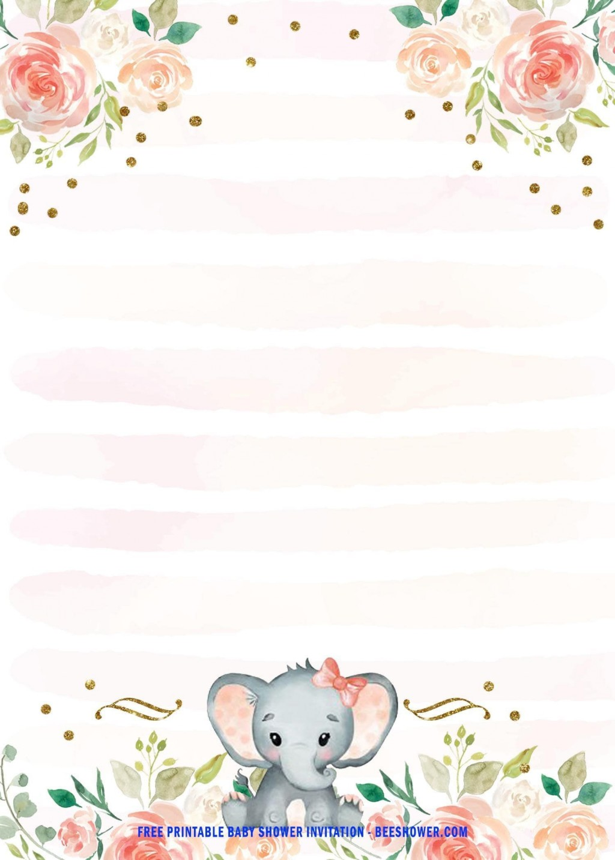 004 Stupendou Free Printable Elephant Baby Shower Invitation Template Example  Templates EditableLarge