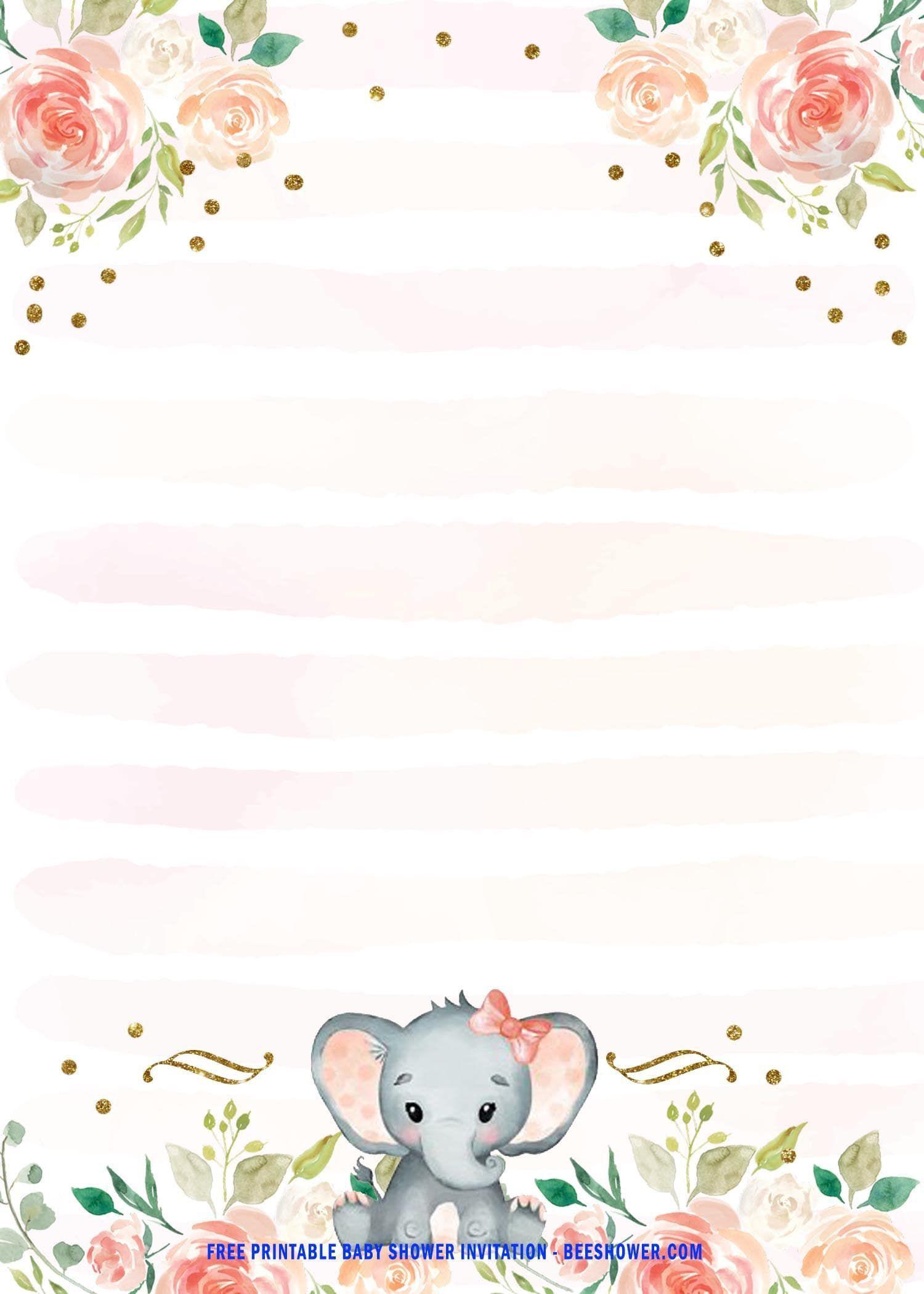 004 Stupendou Free Printable Elephant Baby Shower Invitation Template Example  Templates EditableFull