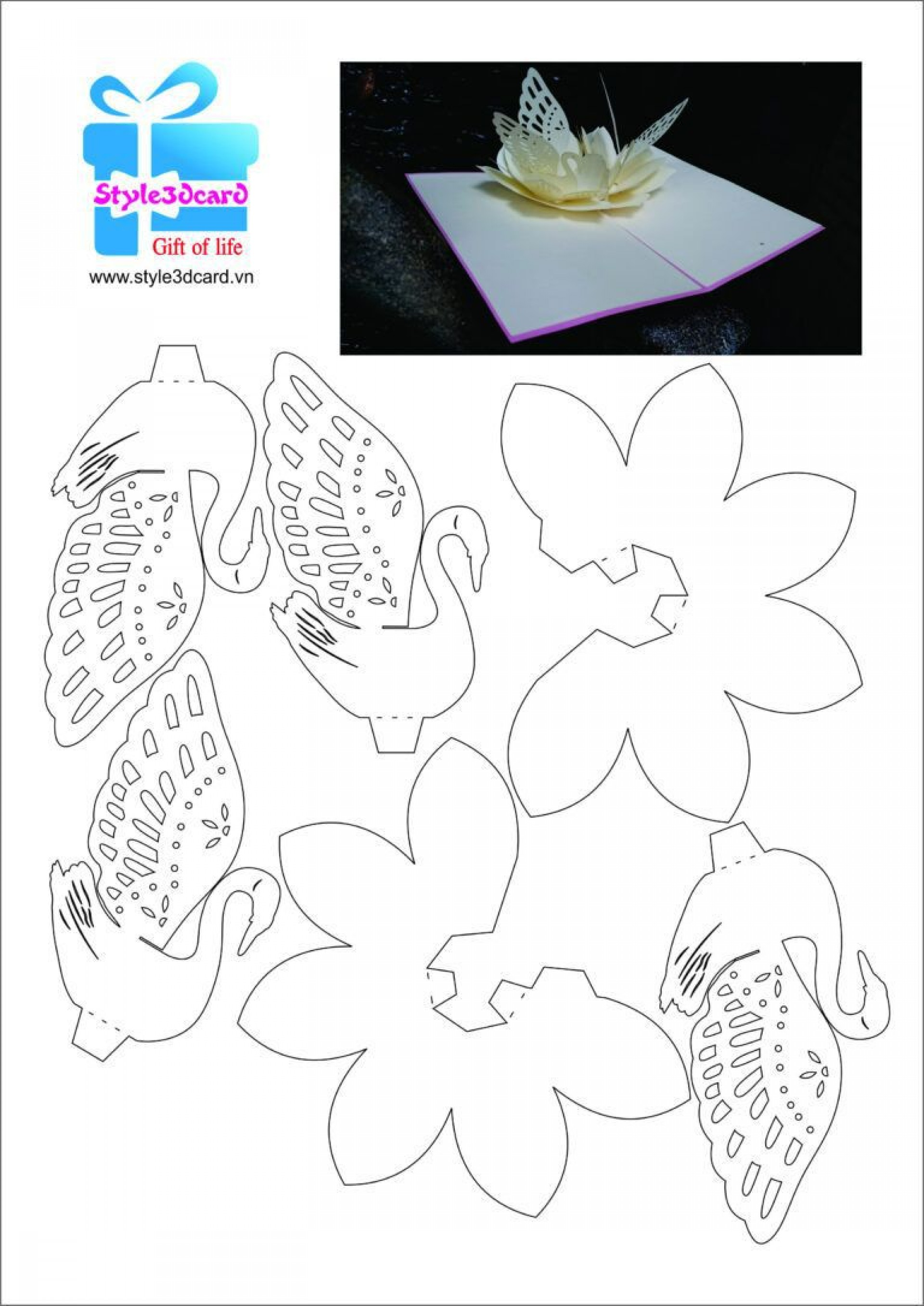 004 Stupendou Pop Up Card Pattern Free Idea  Printable Christma Mother' Day Kirigami1920