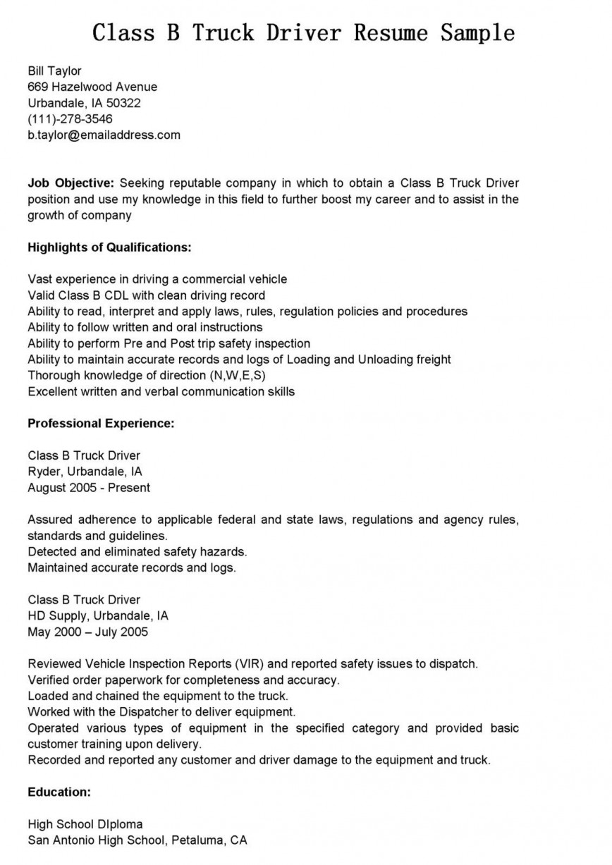 Truck Driver Resume Template Addictionary