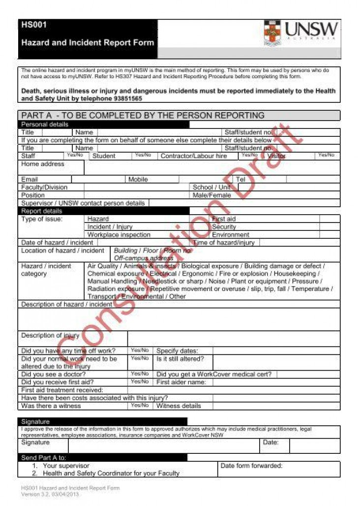 004 Stupendou Workplace Incident Report Form Nsw Design  Template728