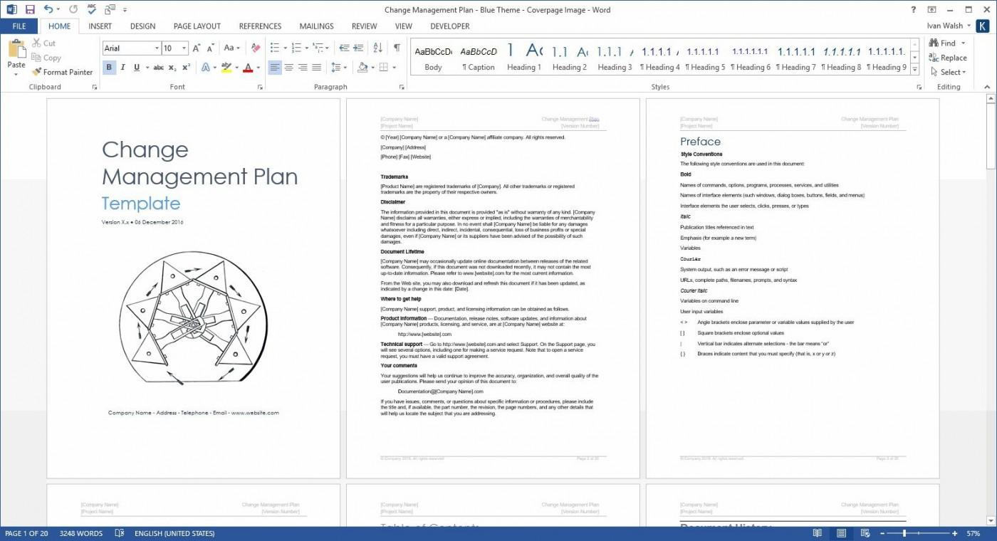 004 Surprising Change Management Plan Template Concept 1400