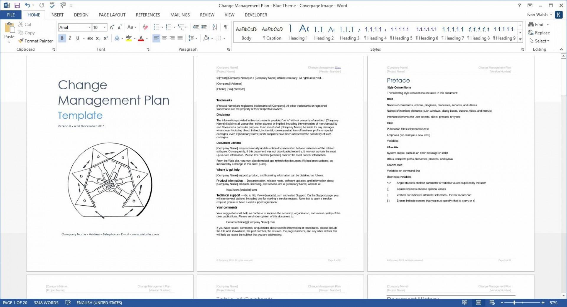 004 Surprising Change Management Plan Template Concept  Templates1920