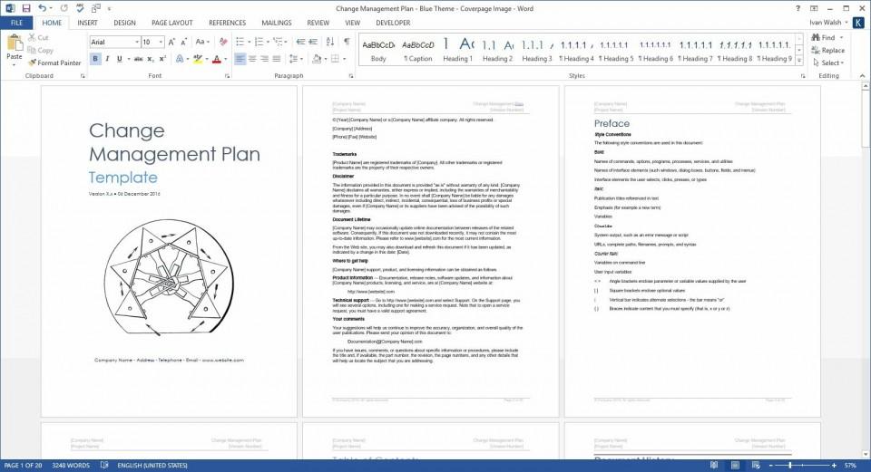 004 Surprising Change Management Plan Template Concept 960