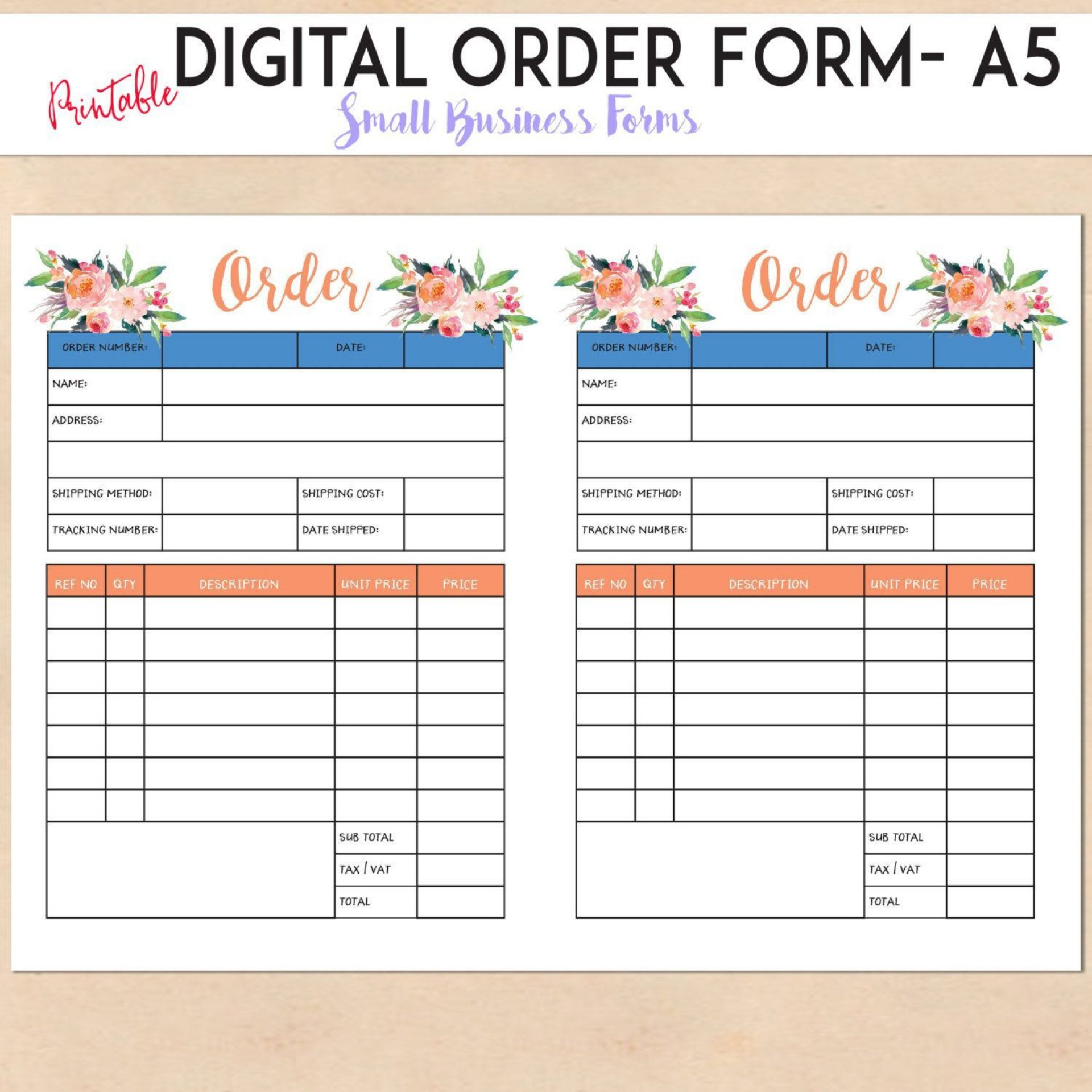 004 Surprising Custom Order Form Template Free Concept  Tumbler Editable1920
