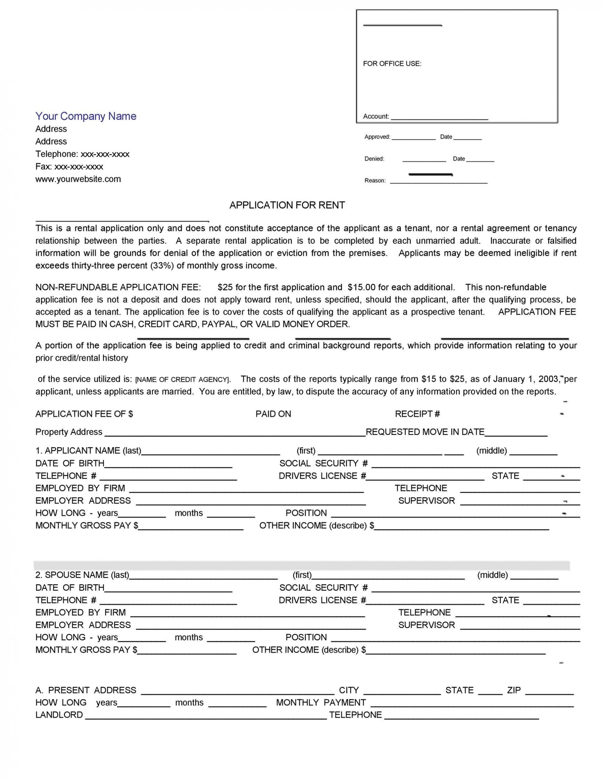 004 Surprising Free Rental Application Template Design  Form Oregon Credit Online1920