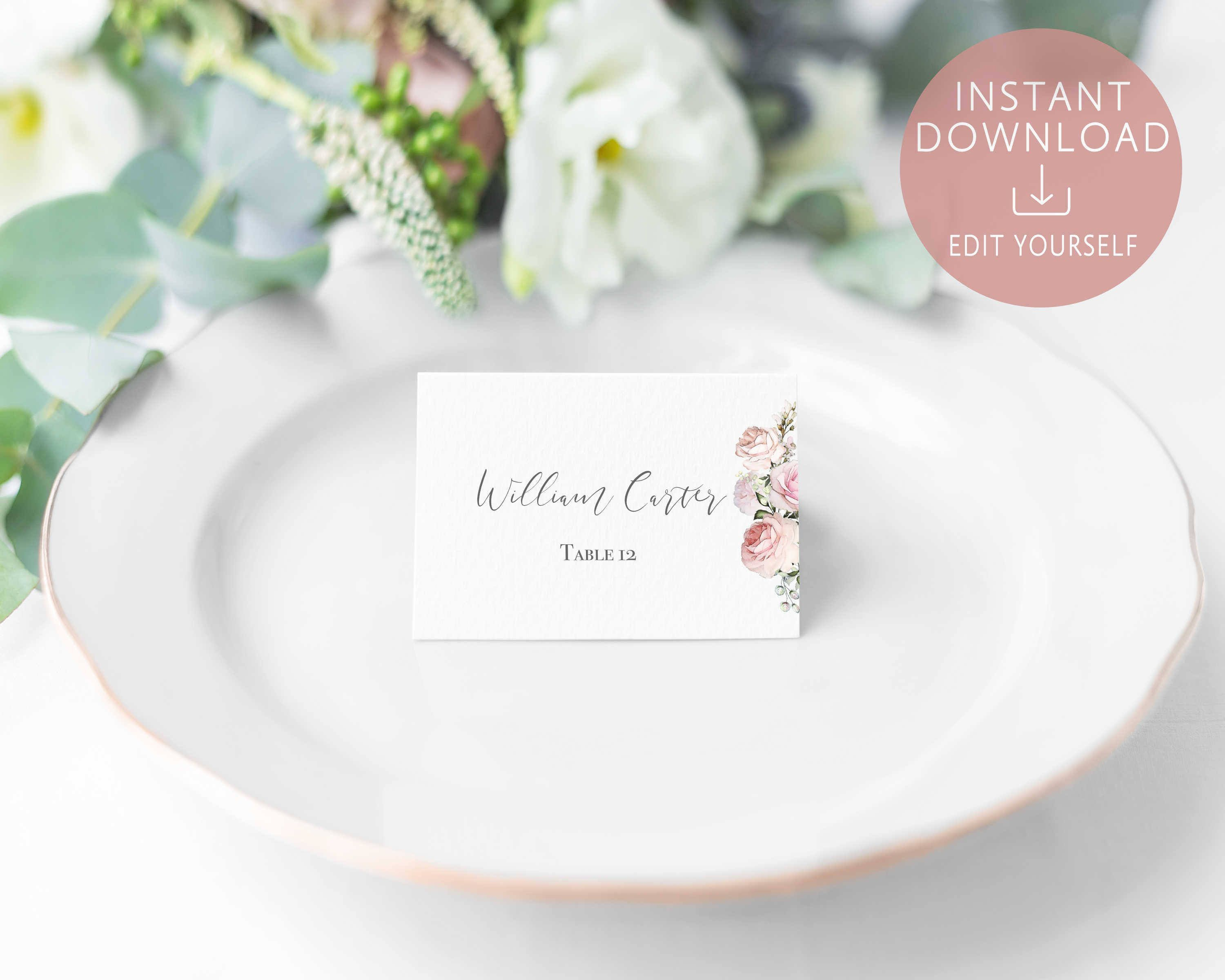 004 Surprising Free Table Name Place Card Template Design  PlacementFull