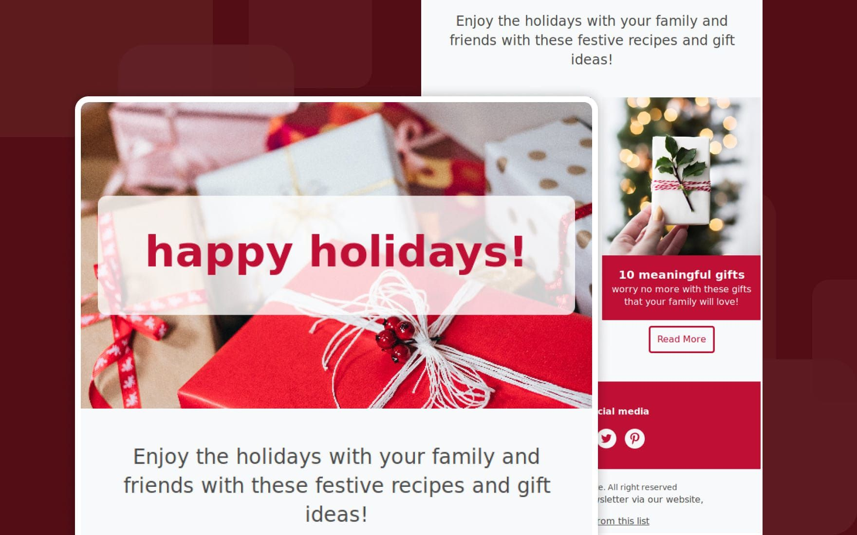 004 Surprising Holiday E Mail Template Image  Email Outlook Christma For MessageFull