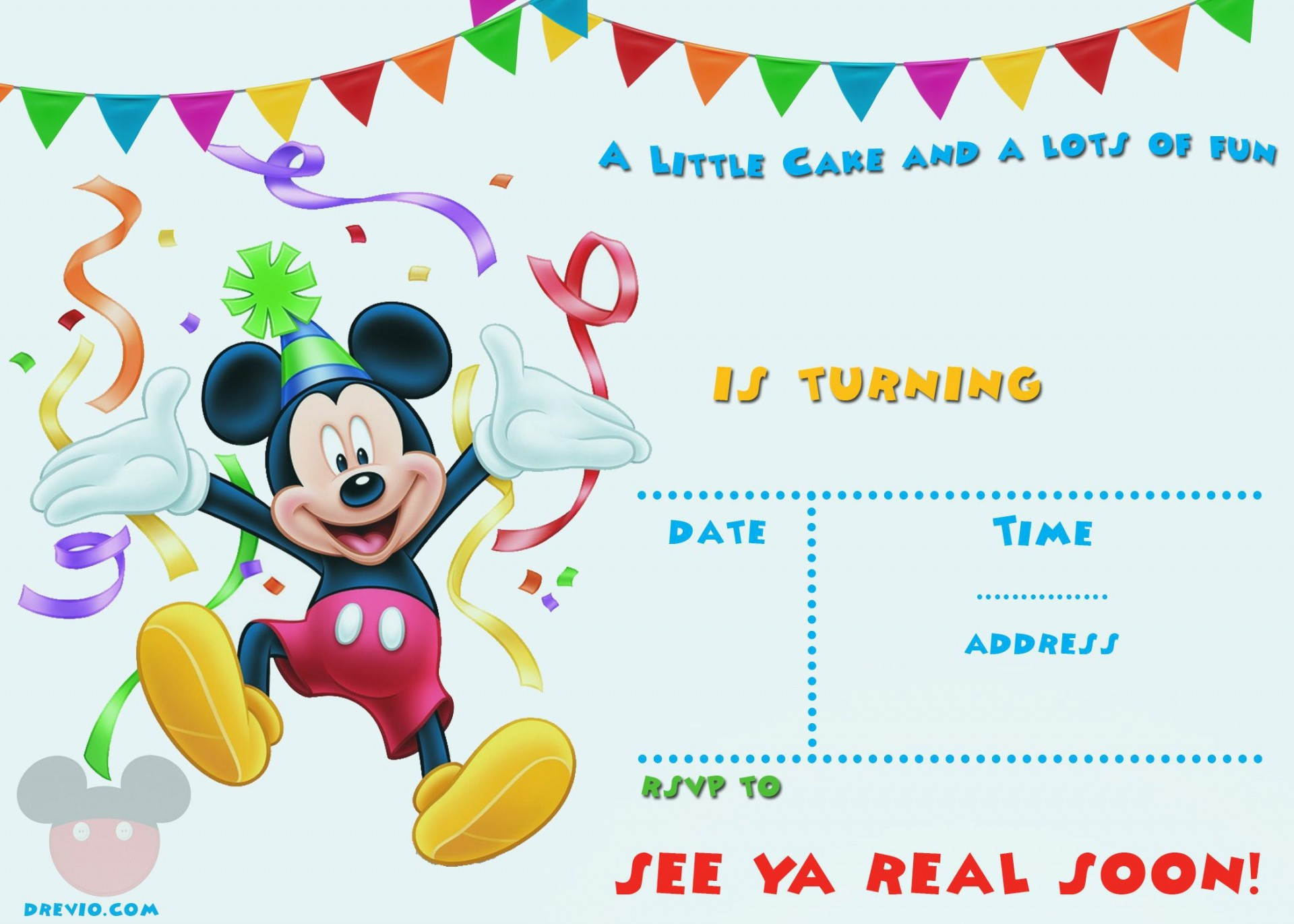 004 Surprising Mickey Mouse Invitation Template Image  Free Diy 1st Birthday Baby Download1920