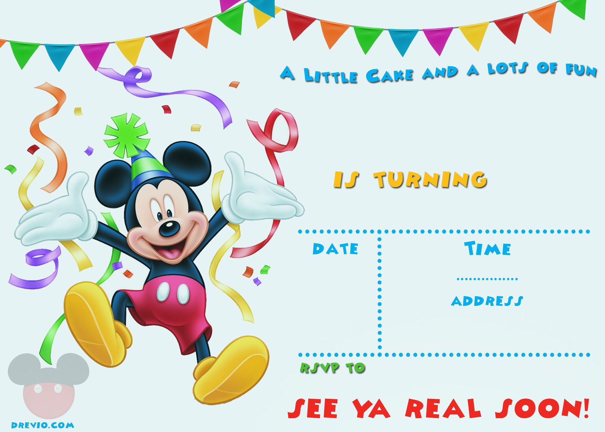 004 Surprising Mickey Mouse Invitation Template Image  Free Diy 1st Birthday Baby DownloadFull