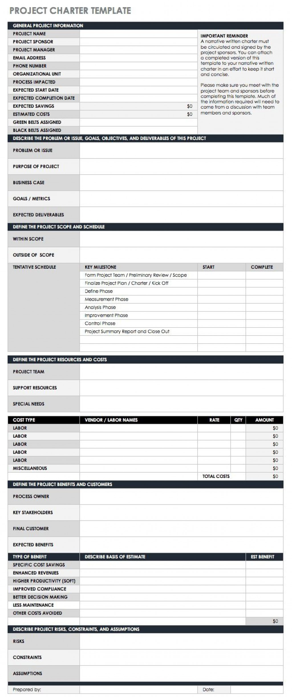 004 Surprising Project Charter Template Excel Photo  Lean Pmbok NederlandLarge