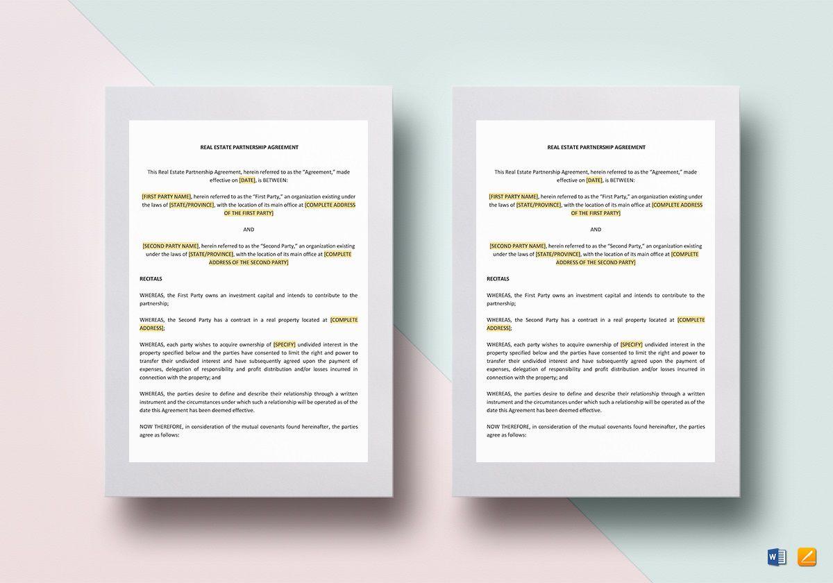 004 Surprising Real Estate Partnership Agreement Template High Def  Team InvestmentFull