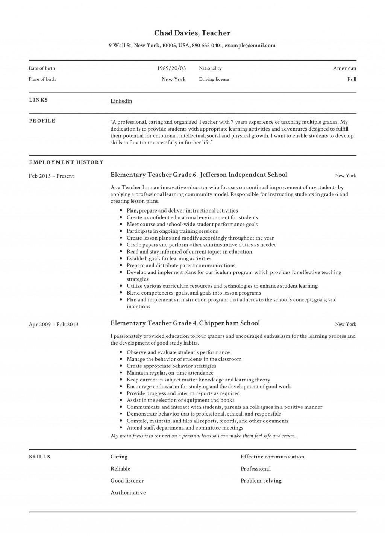 004 Surprising Resume Example For Teacher Job Design  Sample Cv SchoolLarge
