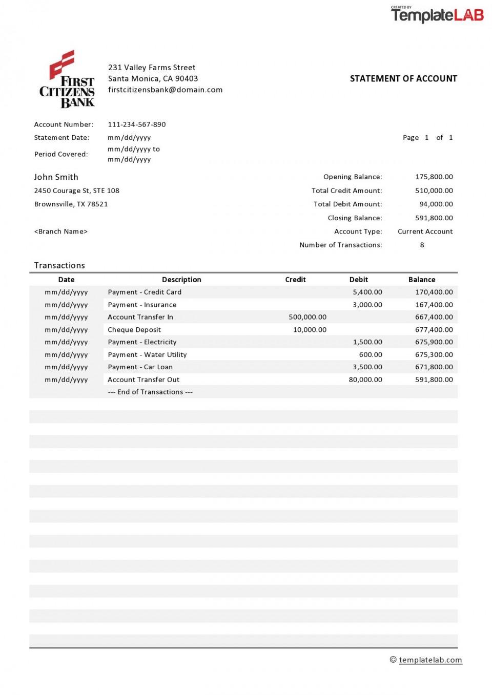 004 Surprising Statement Of Account Template Design  Uk Free Doc Customer960