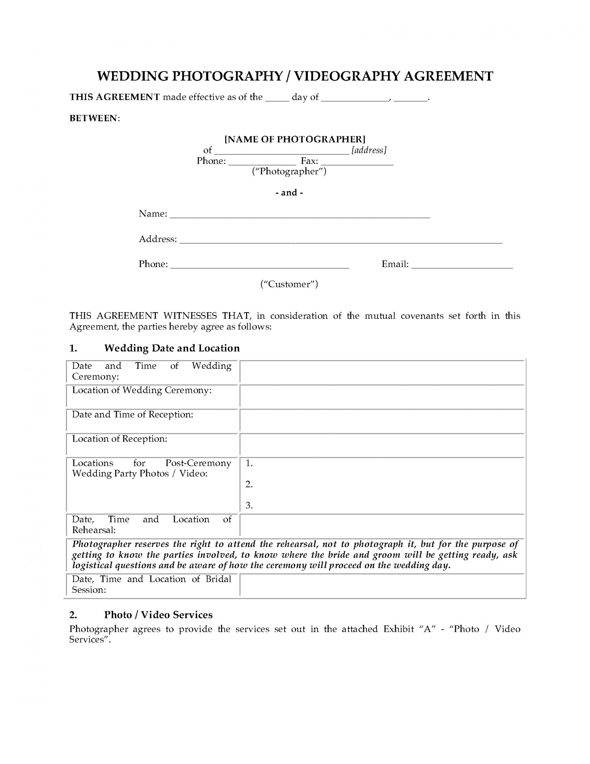 004 Surprising Wedding Videographer Contract Template Highest Clarity  Videography Pdf1920
