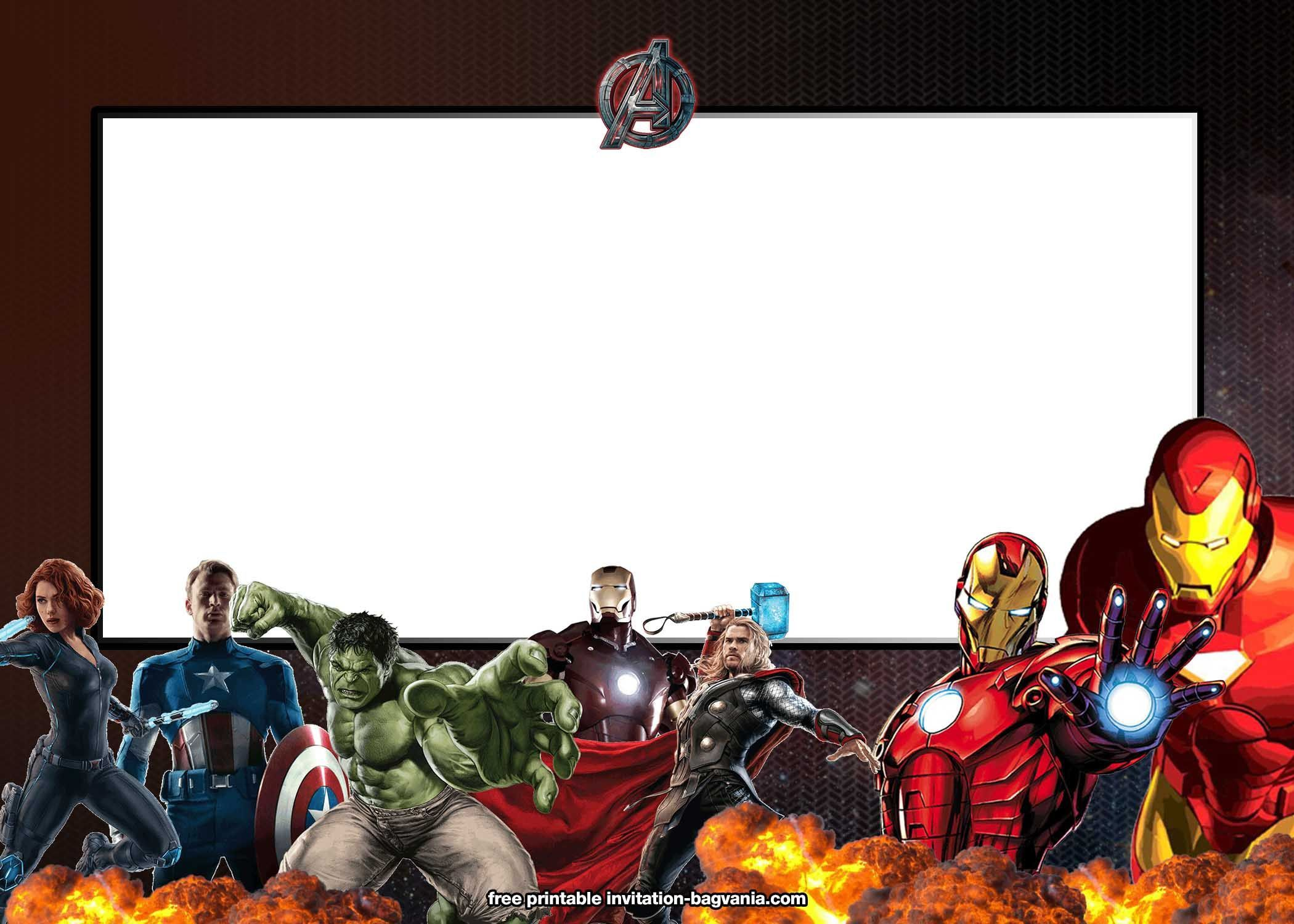 004 Top Avenger Birthday Party Invitation Template Free Example  InviteFull