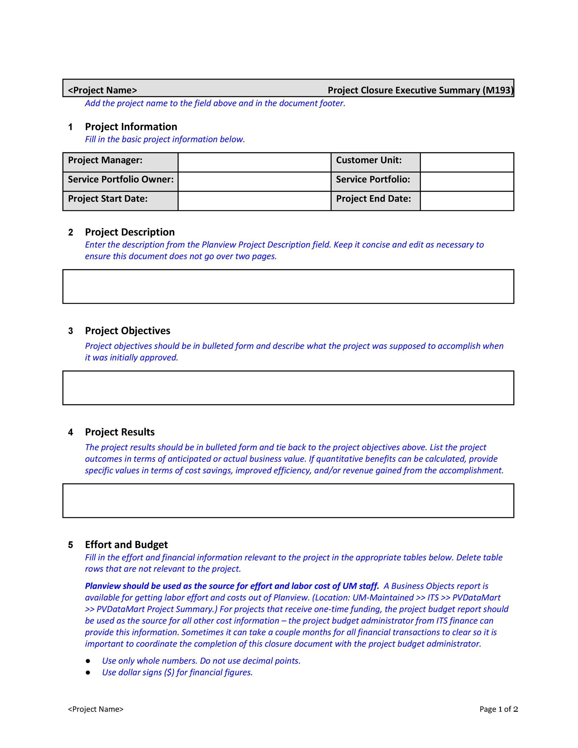 004 Top Executive Summary Template Word Free Design Full