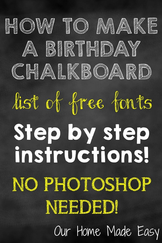 004 Top First Birthday Chalkboard Template High Resolution  Diy Printable Free1920