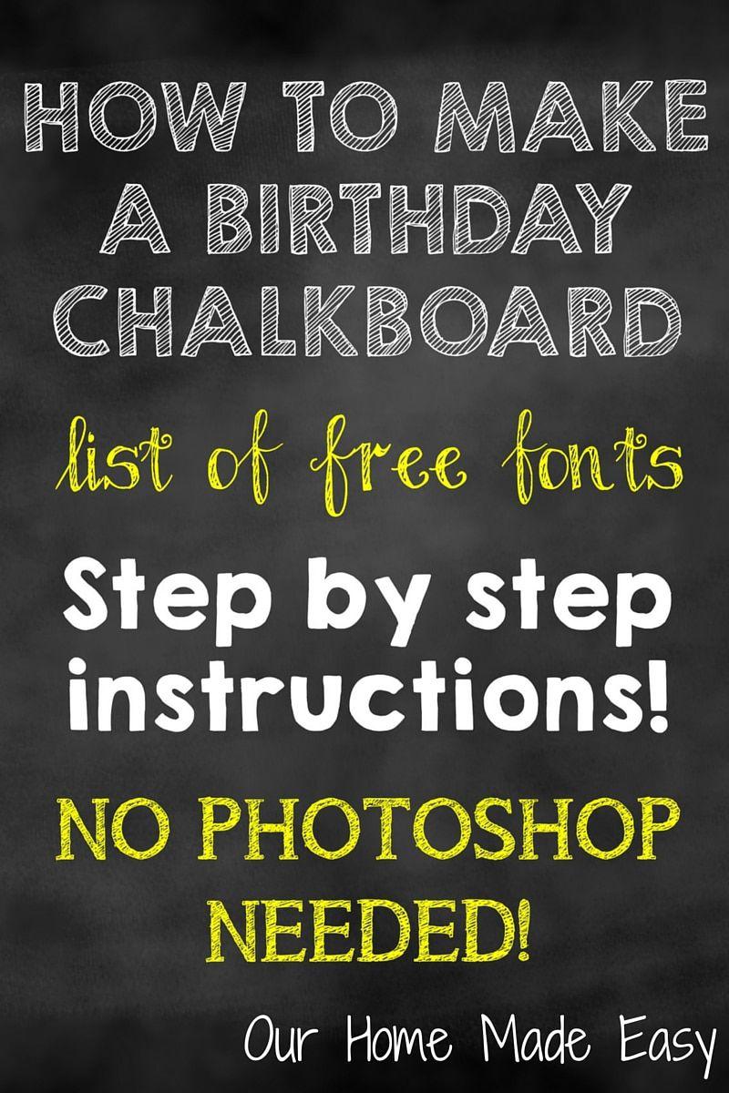 004 Top First Birthday Chalkboard Template High Resolution  Diy Printable FreeFull