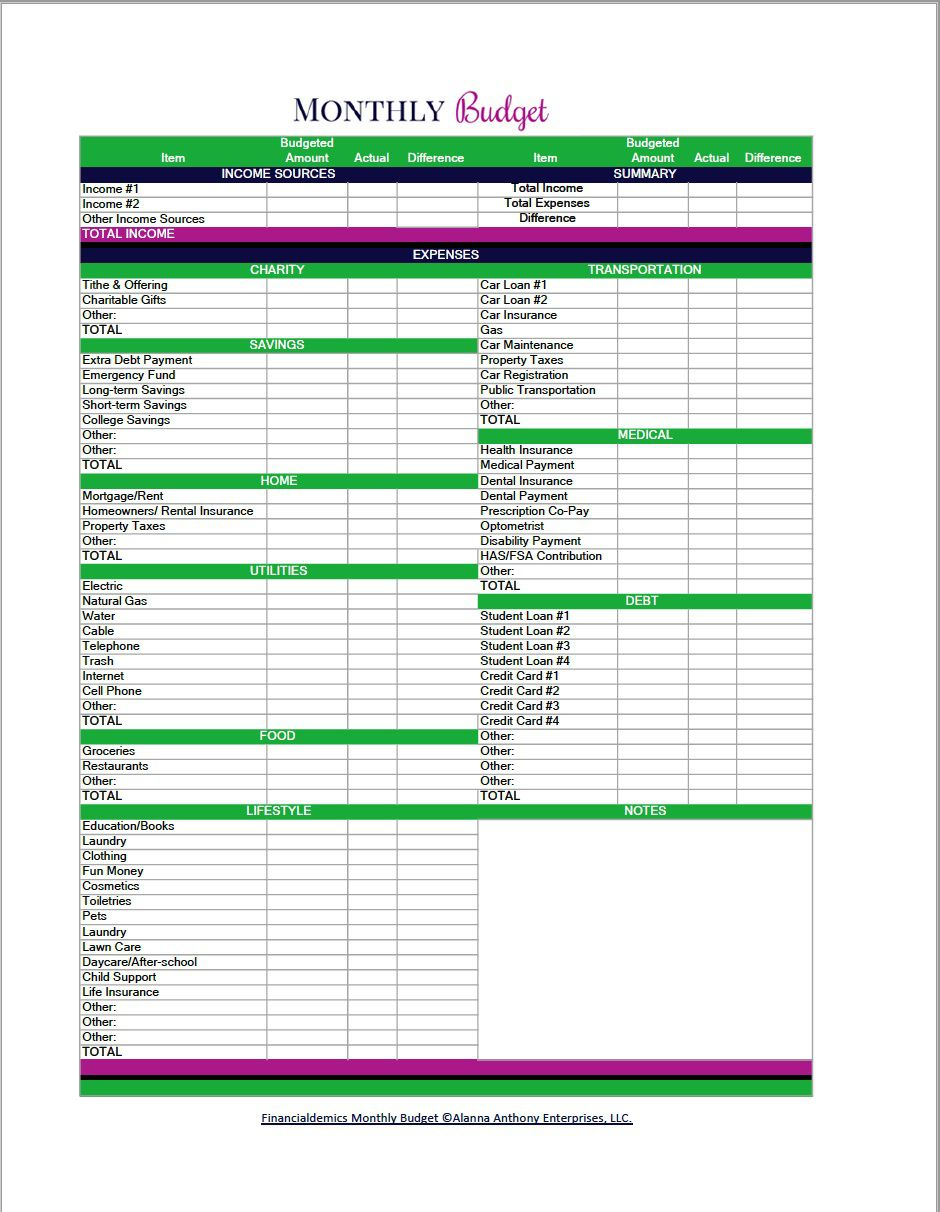 004 Top Free Blank Monthly Budget Spreadsheet Picture  Sheet Downloadable Worksheet PrintableFull