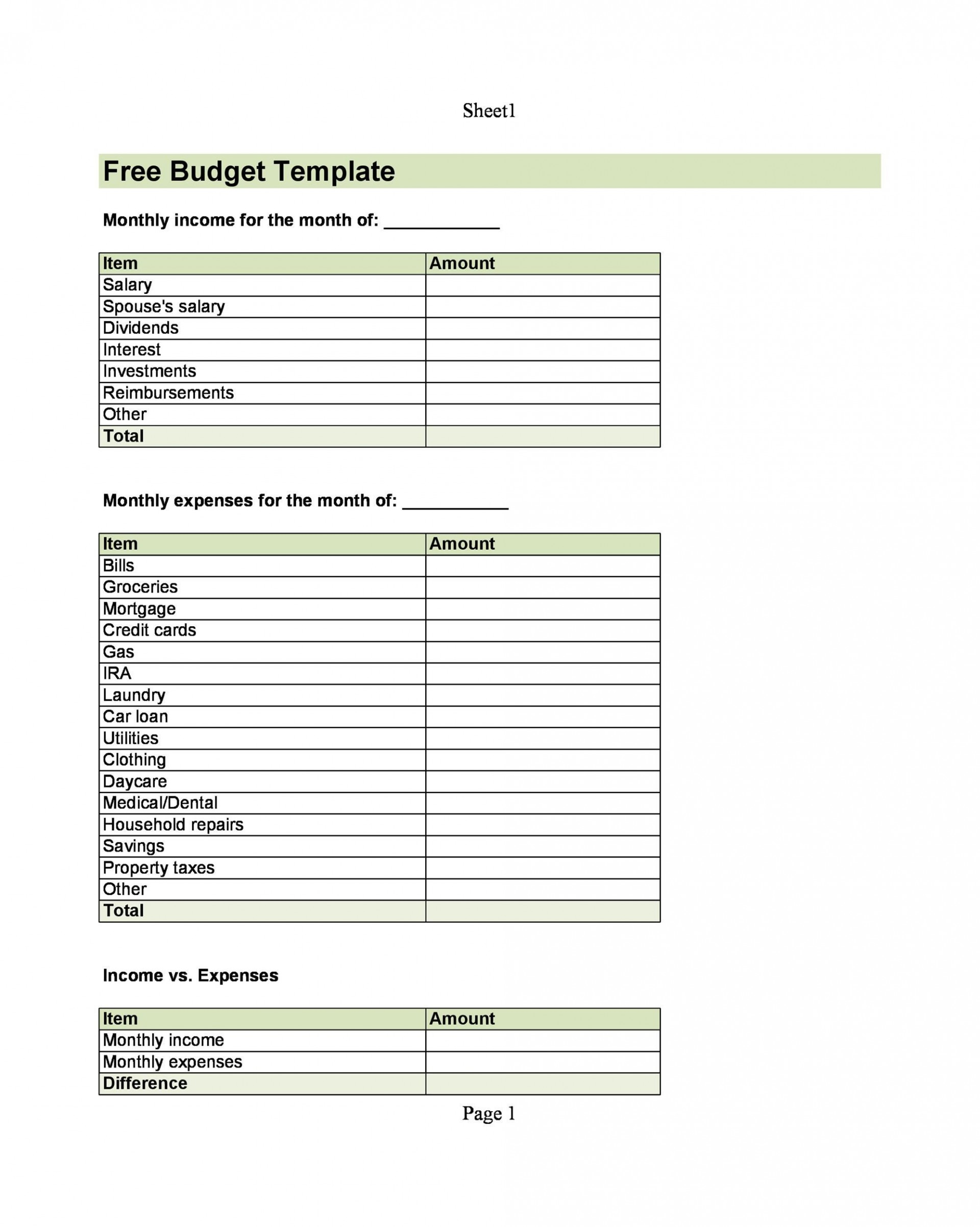 004 Top Free Printable Home Budget Form High Resolution  Spreadsheet Template1920