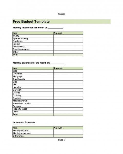 004 Top Free Printable Home Budget Form High Resolution  Spreadsheet Template480