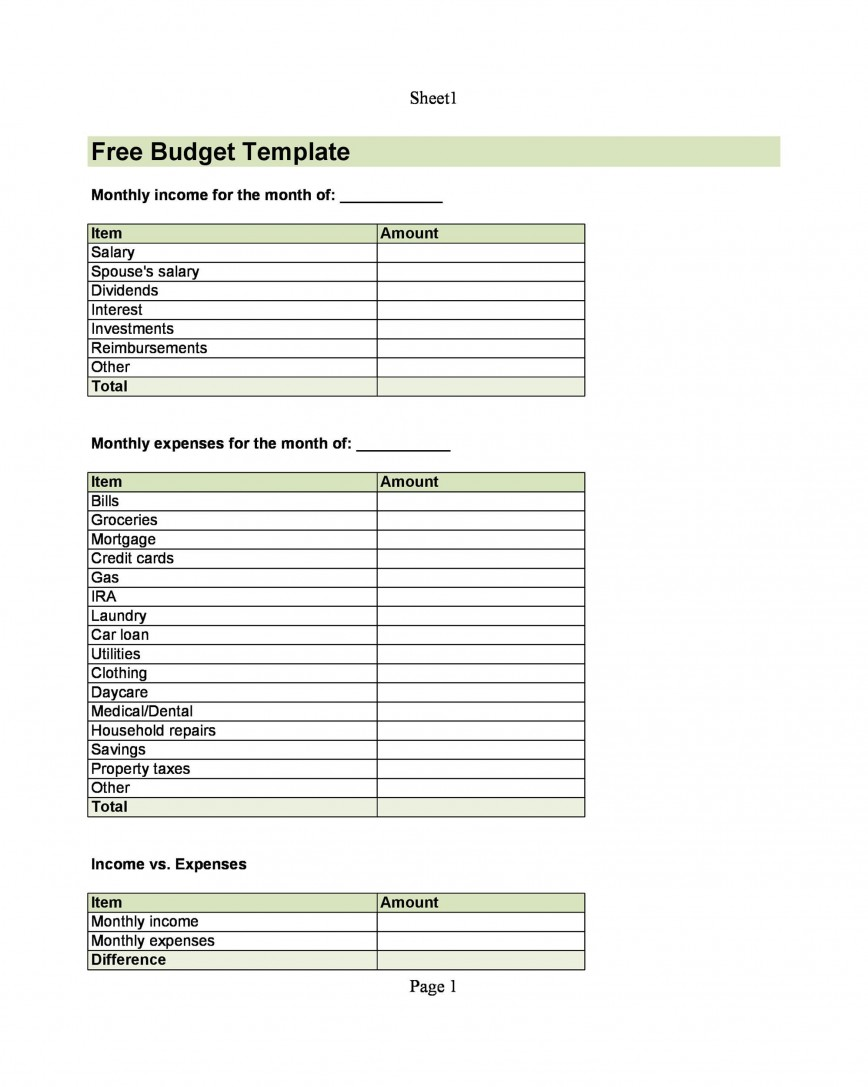 004 Top Free Printable Home Budget Form High Resolution  Template868