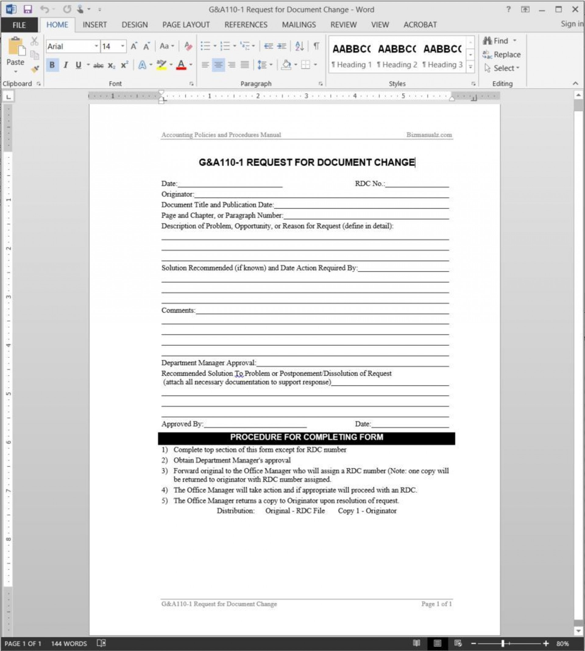 004 Top Management Of Change Procedure Template Highest Quality  Proces Form1920
