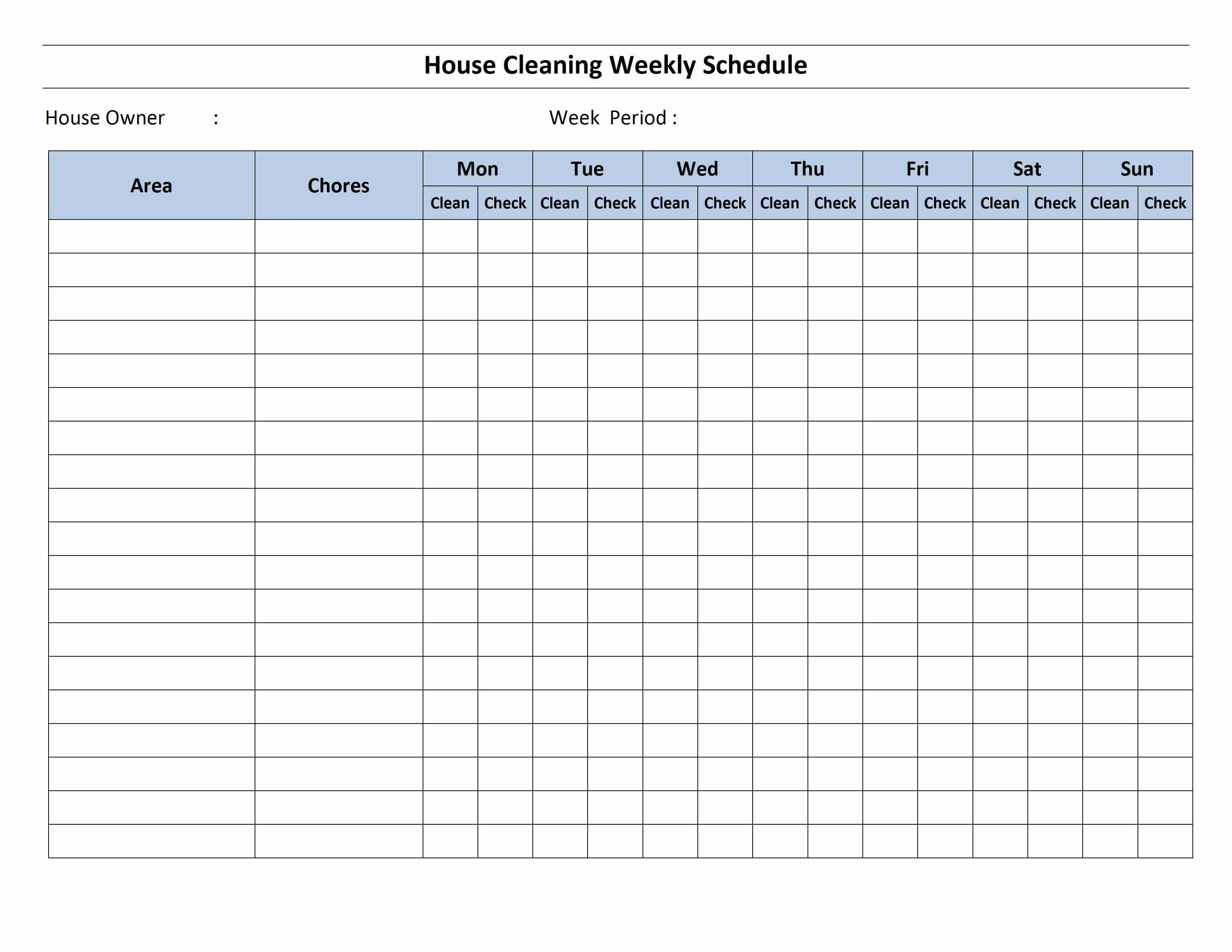 004 Top Weekly Cleaning Schedule Template Example  Word House ChecklistFull