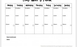 004 Top Weekly Eating Plan Template Example  Food Planner Excel Meal Download