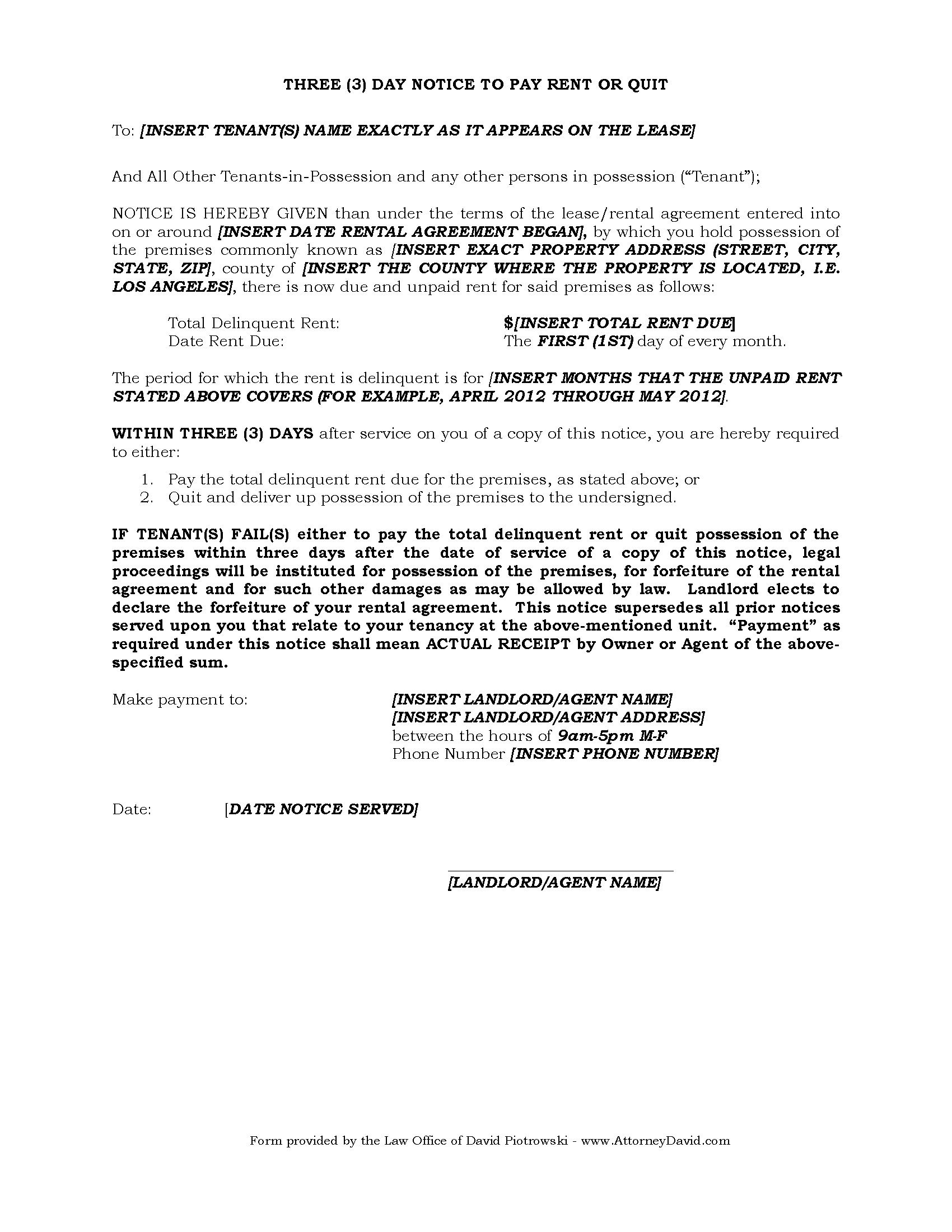 004 Unbelievable 3 Day Eviction Notice Template Example  Form Pdf FloridaFull