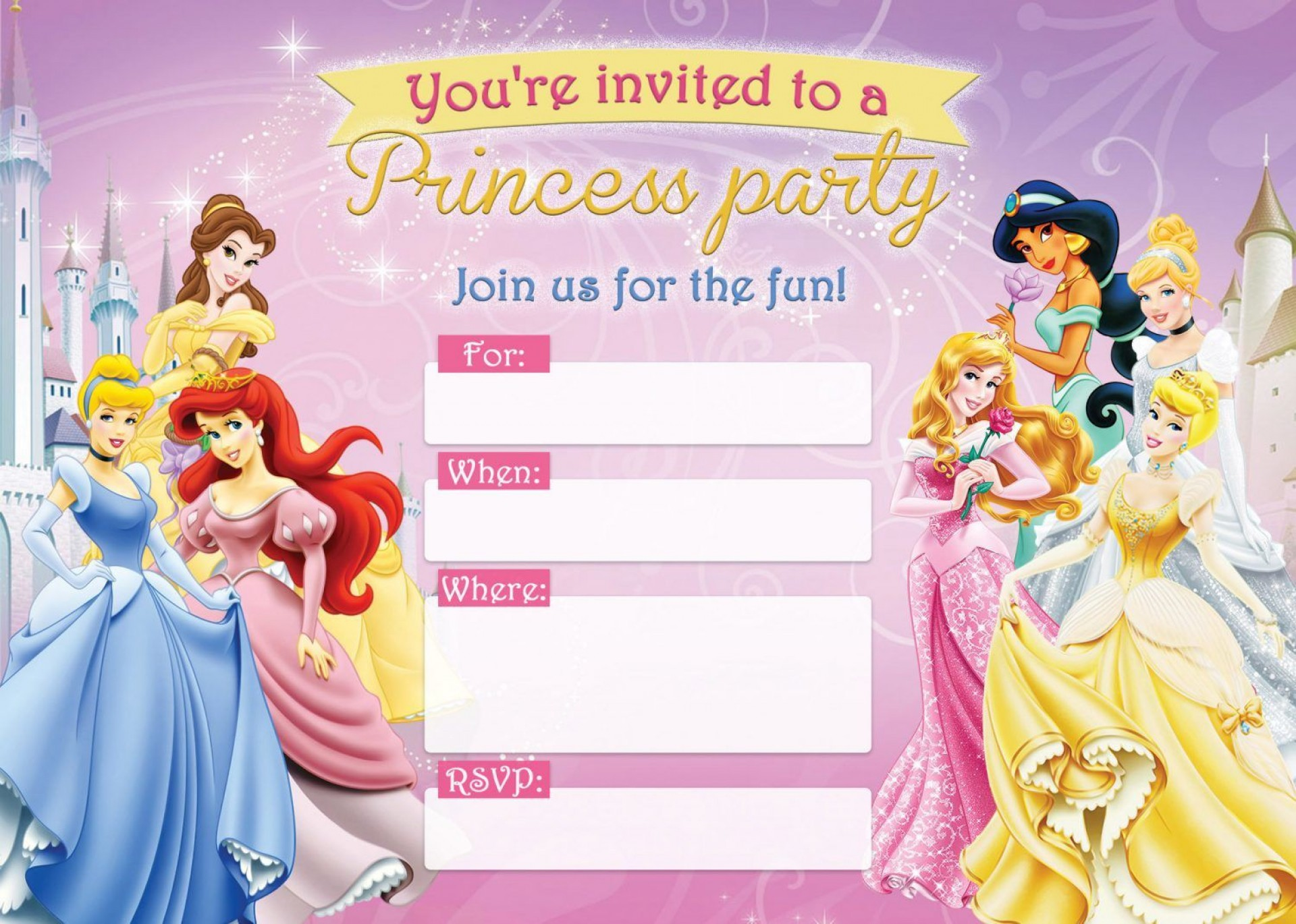 004 Unbelievable Disney Princes Invitation Template Idea  Downloadable Party Free Printable Birthday1920