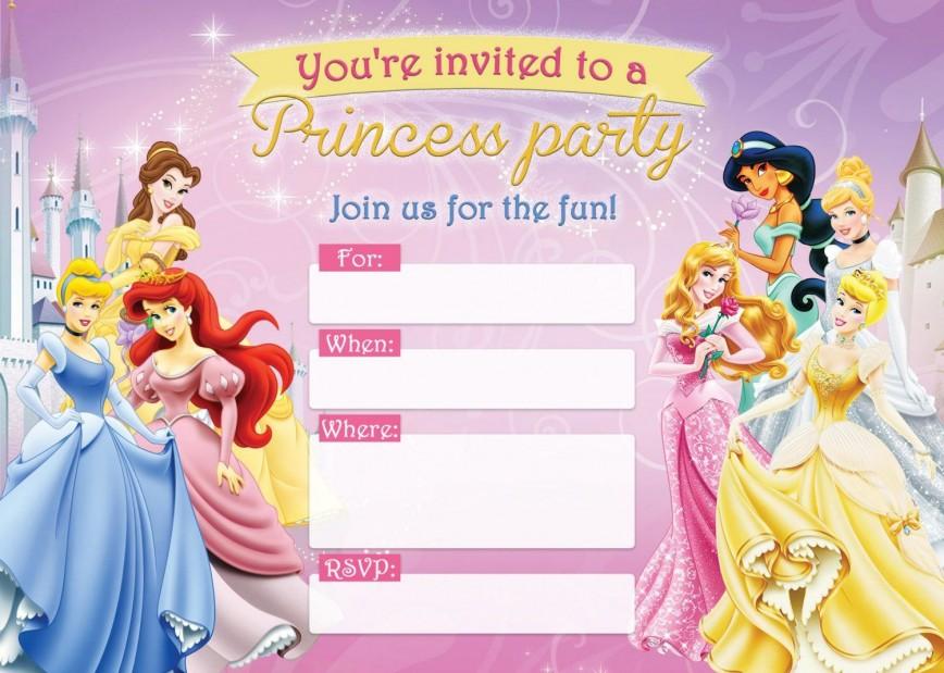 004 Unbelievable Disney Princes Invitation Template Idea  Party Birthday Free Editable