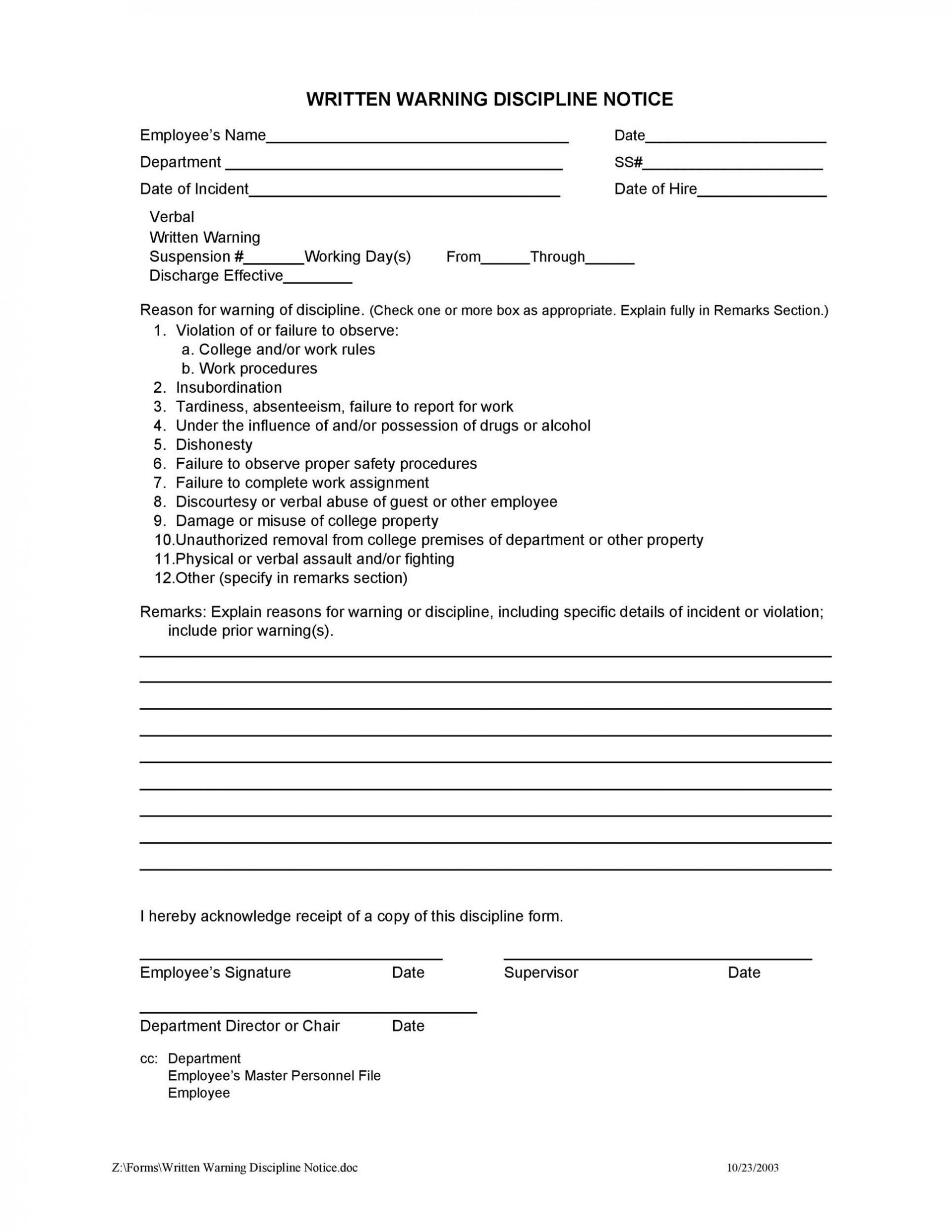 004 Unbelievable Employee Discipline Form Template Sample  Free Disciplinary Letter Action1920