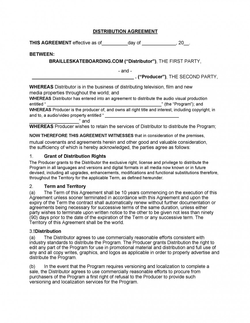 004 Unbelievable Exclusive Distribution Agreement Template Word Picture  Format