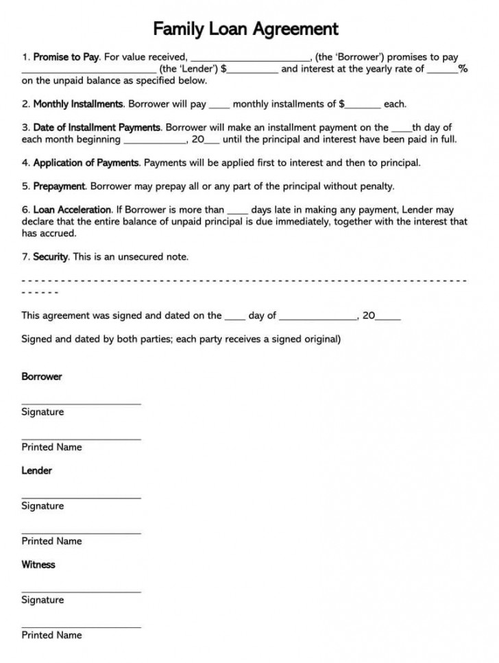 004 Unbelievable Family Loan Agreement Template Sample  Nz Uk Free728
