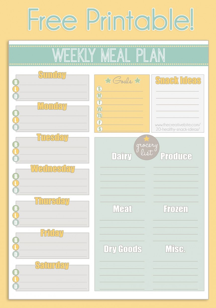 004 Unbelievable Family Meal Planner Template Image  Excel Food