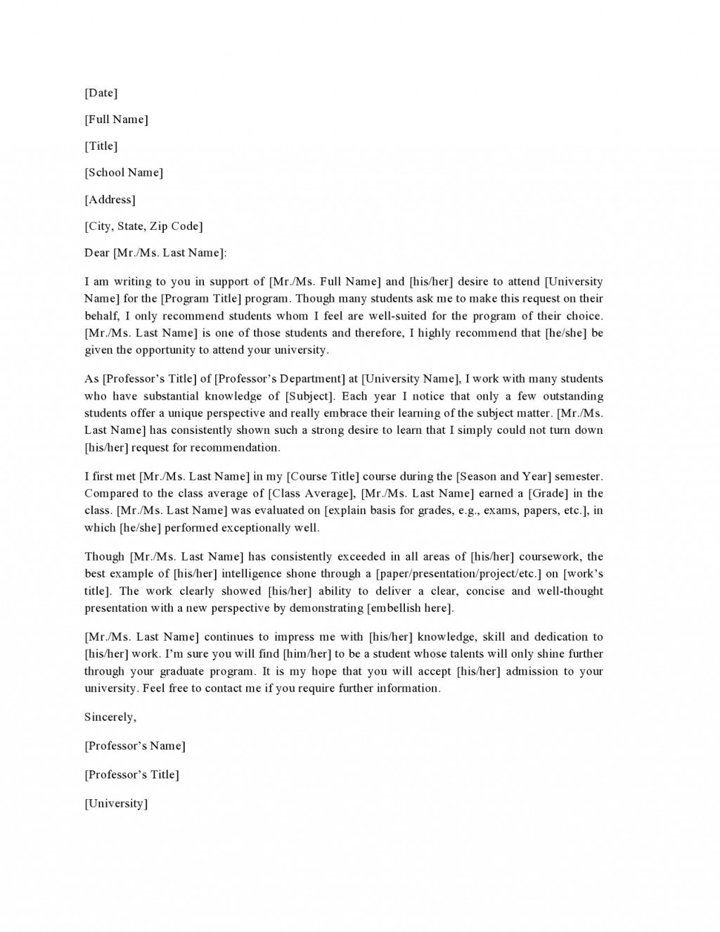 004 Unbelievable Letter Of Recommendation Template For College Student High Definition  Sample From ProfessorLarge