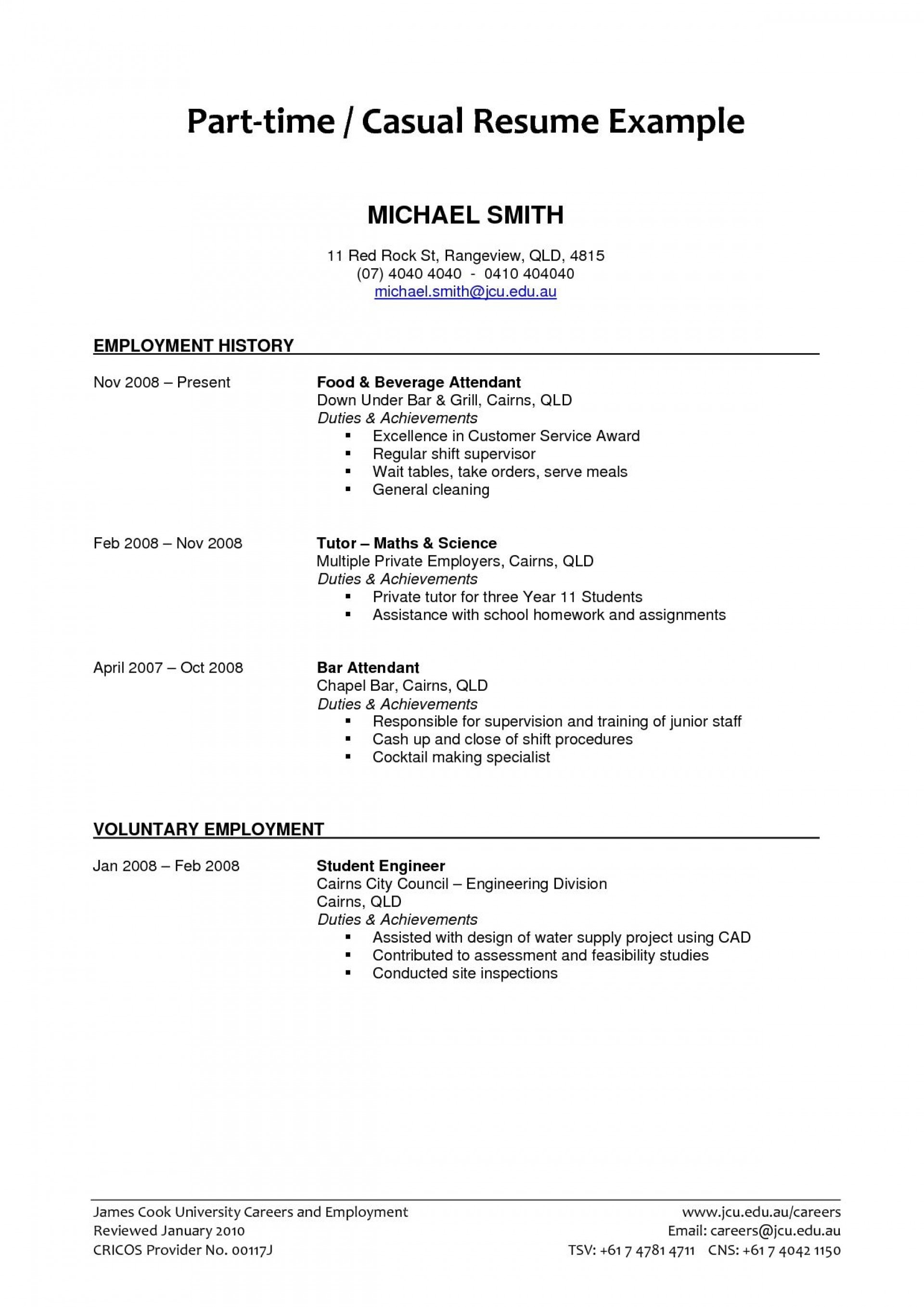 004 Unbelievable Part Time Job Resume Template Example  Student Summary1920