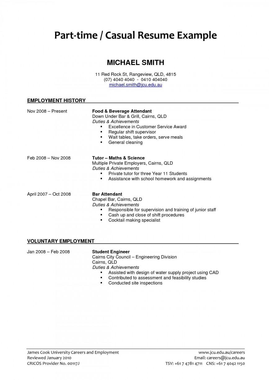 004 Unbelievable Part Time Job Resume Template Example  Australian For Cv Student Sample