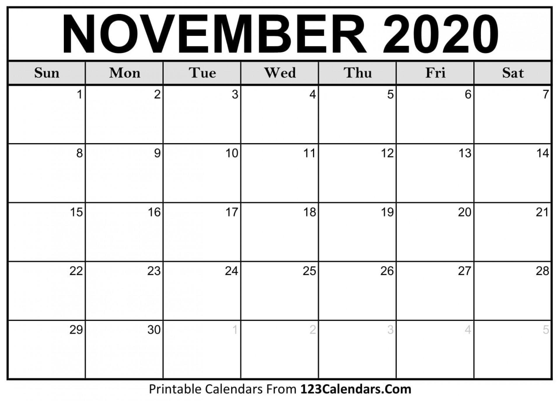 004 Unbelievable Printable Calendar Template November 2020 Idea  Free1920