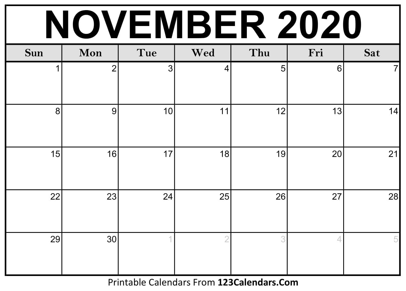 004 Unbelievable Printable Calendar Template November 2020 Idea  FreeFull